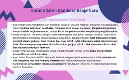 Surat Edaran Walikota Banjarbaru tentang Kawasan Tanpa Rokok